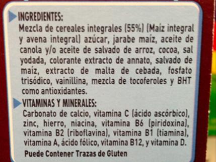Lista de Ingredientes Ejemplo